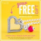 FREE Gift with purchase!  Hurry, while supplies last!  Begins Friday, July 10th @ 12noon CST