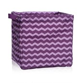 Square Storage Bin - Plum Chevron