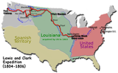 The map of the Lewis and Clark expidition