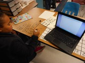 Another Childress 4th grader hard at work on a math problem