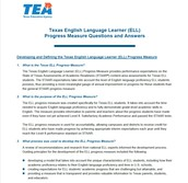 Texas ELL Progress Measure Questions and Answers