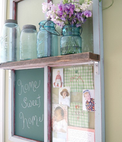 Chicken Wire and Chalk Board with Shelf