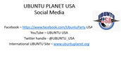 Connect to UBUNTU Planet USA through Social Media