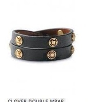 Clover Double Wrap Leather Bracelet
