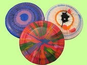 Spin art frisbees!