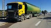 המשאית שהתנגשה ברכב הפרטי בצומת בית צבי