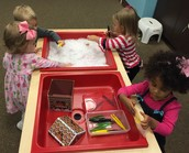 Pretend snow and hiding gingerbread men in Sensory Room.