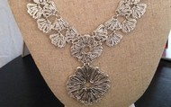 Geneve Lace Pendant Necklace silver