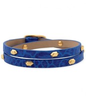 Hudson Cobalt Leather Wrap Bracelet
