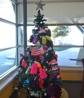 The school collected hats in the office