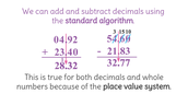 Review of Standard Algorithm for Add and Subtract