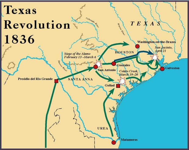 Texas Revolution Smore Newsletters For Education - Battle of san jacinto map