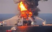 The oil well blows up in the gulf