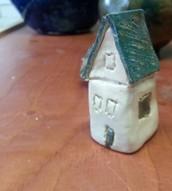 Huisje...Blauweffect kwastglazuur