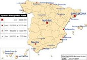 Major cities map of Spain
