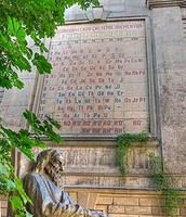 Sculpture in honor of Mendeleev and the periodic table