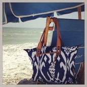 Blue Ikat How does She Do It Bag