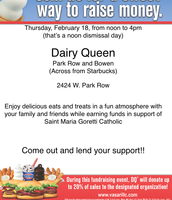 Dairy Queen Dine Out on Thursday from Noon - 4:00PM