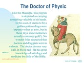 Which lines in the prologue best describes the Doctor's physical appearance?