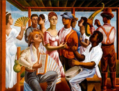 Painting of People Dancing to and Plating Merengue