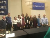 Strong School 8th grade girls basketball players and CRHS students with Sue Bird at a Middlesex Chamber of Commerce breakfast
