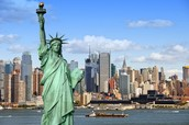 The Statue of Liberty against the New York