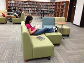 Comfy, movable furniture for reading & collaboration!