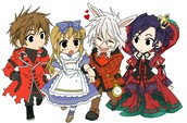 Alice, Ace, Peter White, Queen of Hearts