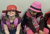Students excited about their hats! ~ Crazy Hat Day!