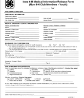 Iowa 4-H Medical Informaiton/Release Form pg 1