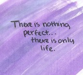 """There is nothing perfect...there is only life."""