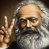 "Marx holding up the ""Peace"" sign"