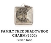 Family Tree Shadowbox Charm in Silver Tone