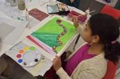 Leena working on her Aboriginal Art Project