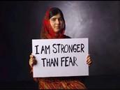 """Malala Yousafzai, """"I am stronger than fear."""""""