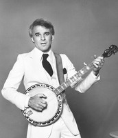 Comedian Steve Martin playing his Gibson banjo