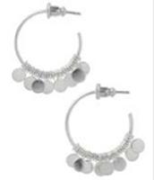 Small Fringe Hoop Earrings -- Silver