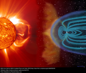This picture shows the Earth's magnetic field and the solar wind from the Sun.
