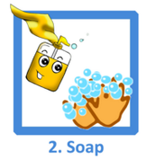 Put soap on hands