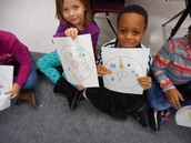 K students work product where their classmates have to determine the main idea