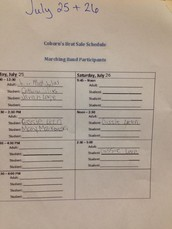 Work Shifts for Friday and Saturday's Brat Sale