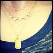 On the Mark necklace paired with Pave Chevron and Engravable necklaces