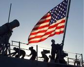 Placing a flag.