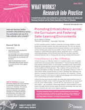 What Works? Research into Practice Series: Promoting Critical Literacy across the Curriculum and Fostering Safer Learning Environments