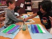 Our future artists were working with watercolors.