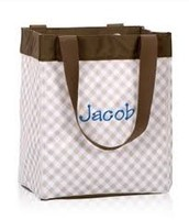 Essential Storage Tote - Taupe Gingham (Retired print) $14