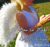 Making a bible tunic and angel wings.