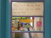 Mission statement signed by students posted on Heather Olson's fourth grade room