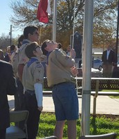 LVJHS Boy Scouts Raise Flag at Wilson County Courthouse Opening!