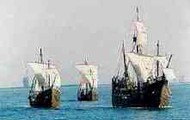 The three ships of Christopher Columbus sail
